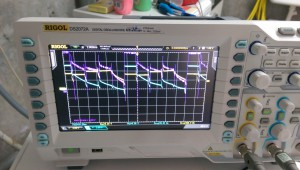 Oscilloscope showing signals for the LED